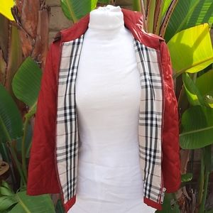 Burberry red quilted zip up jacket coat small